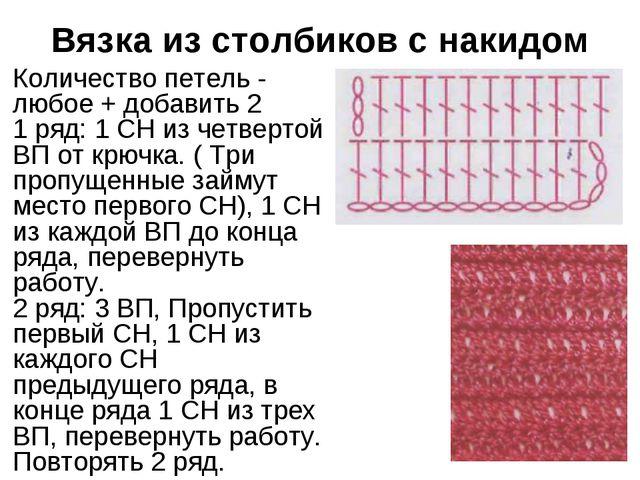 Вязка из столбиков с накидом Количество петель - любое + добавить 2 1 ряд: 1...