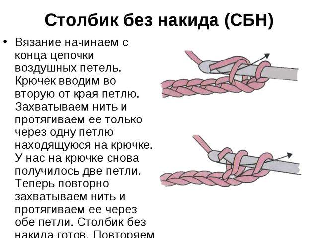 Столбик без накида (СБН) Вязание начинаем с конца цепочки воздушных петель. К...