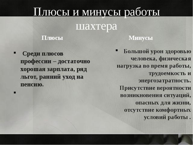 Плюсы и минусы работы шахтера Плюсы Среди плюсов профессии – достаточно хорош...