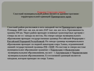 Родная Спасская земля Спасский муниципальный район является административно-т