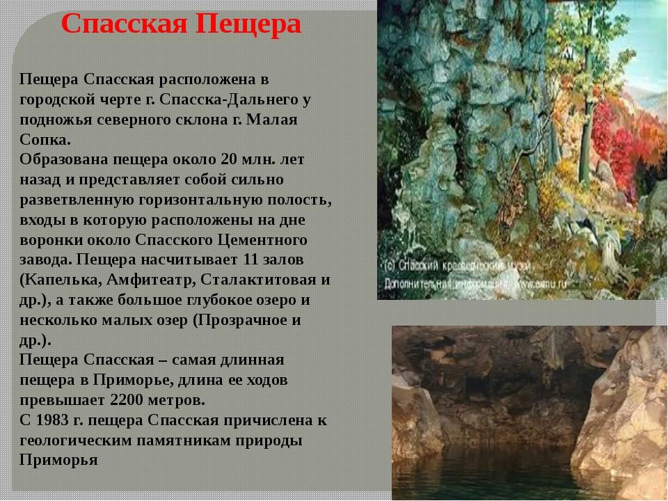 Спасская Пещера Пещера Спасская расположена в городской черте г. Спасска-Даль...