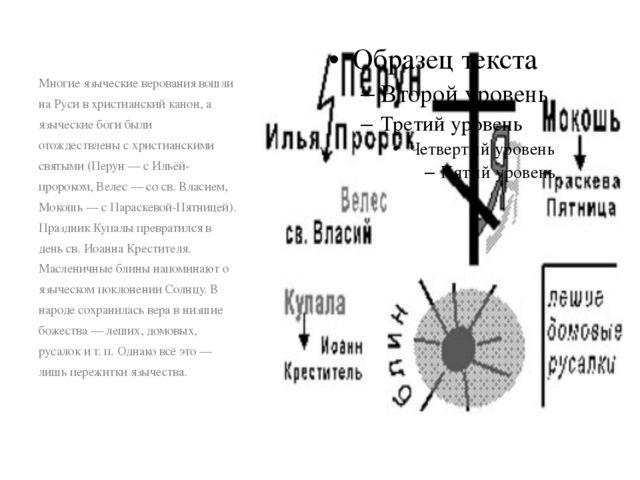 Многие языческие верования вошли на Руси в христианский канон, а языческие бо...