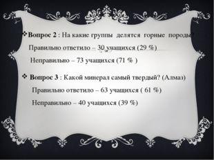 Вопрос 2 : На какие группы делятся горные породы? Правильно ответило – 30 уч