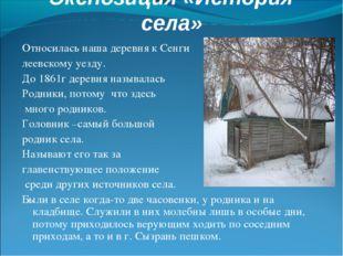 Экспозиция «История села» Относилась наша деревня к Сенги леевскому уезду. До