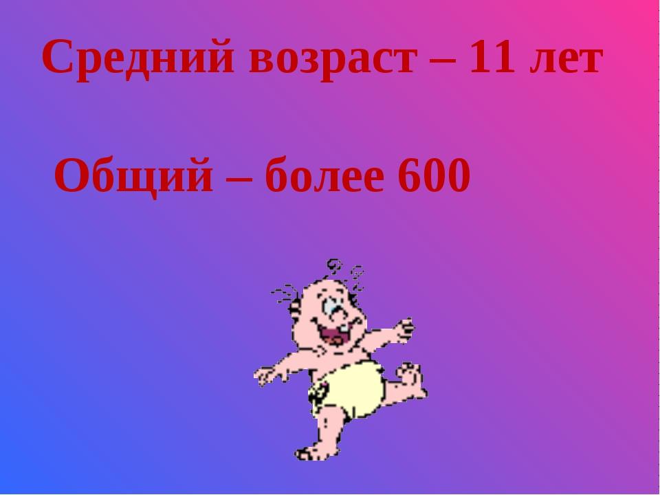 Средний возраст – 11 лет Общий – более 600