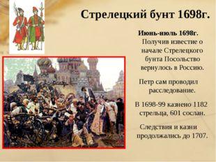 Стрелецкий бунт 1698г. Июнь-июль 1698г. Получив известие о начале Стрелецког