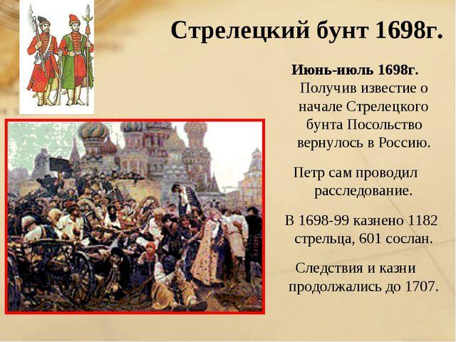 Стрелецкий бунт 1698г. Июнь-июль 1698г. Получив известие о начале Стрелецког...