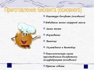 Рецептура бисквита (основного) Взбивание яично-сахарной массы Замес теста Фо