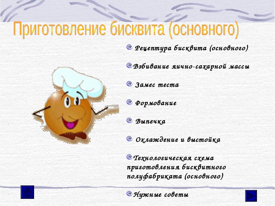 Рецептура бисквита (основного) Взбивание яично-сахарной массы Замес теста Фо...