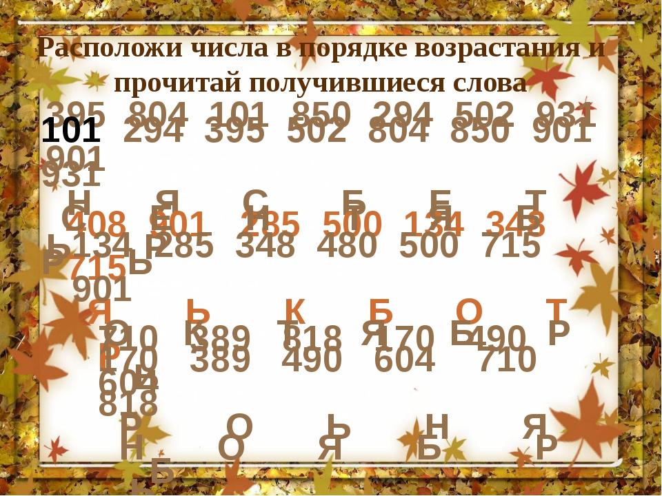 Расположи числа в порядке возрастания и прочитай получившиеся слова 395 804 1...