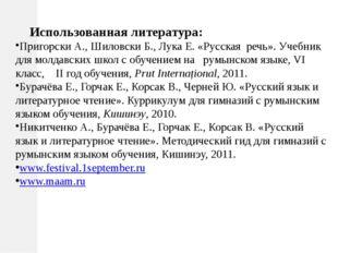 Использованная литература: Пригорски А., Шиловски Б., Лука Е. «Русская речь»