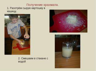 Получение крахмала. 1. Разотрём сырую картошку в кашицу, 2. Смешаем в стакане