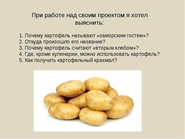 При работе над своим проектом я хотел выяснить: 1. Почему картофель называют...