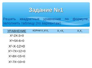 Задание №1 Решить квадратные уравнения по формуле, заполнить таблицу (по вари
