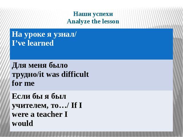 Наши успехи Analyze the lesson   На уроке я узнал/I've learned Для меня был...