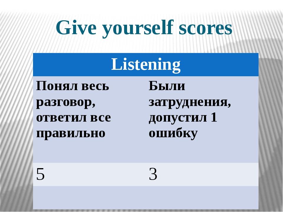 Give yourself scores Listening Понял весь разговор, ответил все правильно Был...