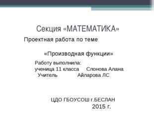 Секция «МАТЕМАТИКА» Проектная работа по теме «Производная функции» Работу вы