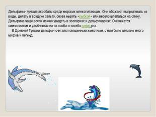 Дельфины- лучшие акробаты среди морских млекопитающих. Они обожают выпрыгиват