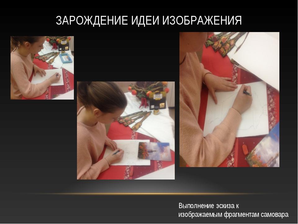 Выполнение эскиза к изображаемым фрагментам самовара ЗАРОЖДЕНИЕ ИДЕИ ИЗОБРАЖЕ...