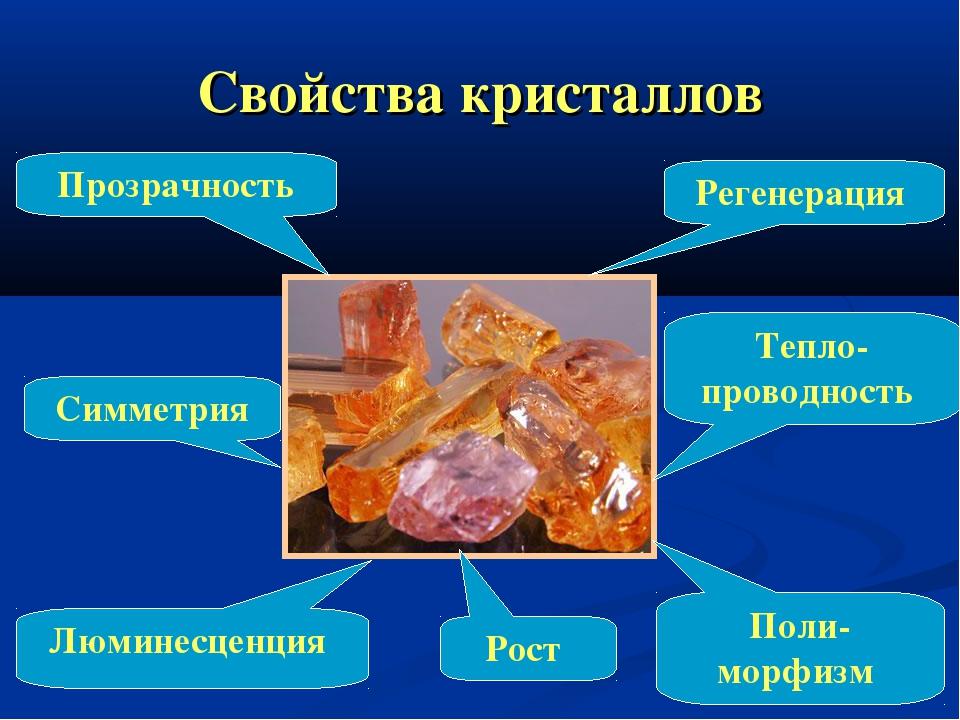 Свойства кристаллов Реге Регенерация Прозрачность Люминесценция Поли-морфизм...