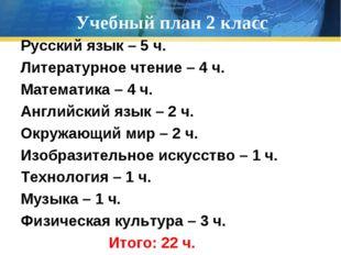 Учебный план 2 класс Русский язык – 5 ч. Литературное чтение – 4 ч. Математик
