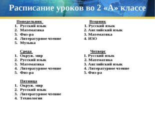 Расписание уроков во 2 «А» классе