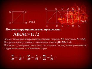 АВ:АС=1:√2 Получим иррациональную прогрессию: Затем, с помощью шнура на прод