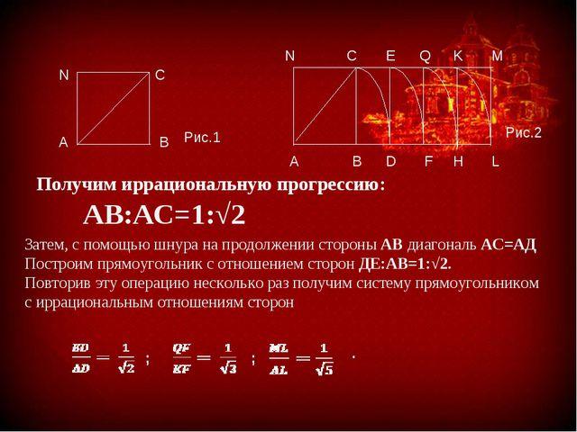 АВ:АС=1:√2 Получим иррациональную прогрессию: Затем, с помощью шнура на прод...