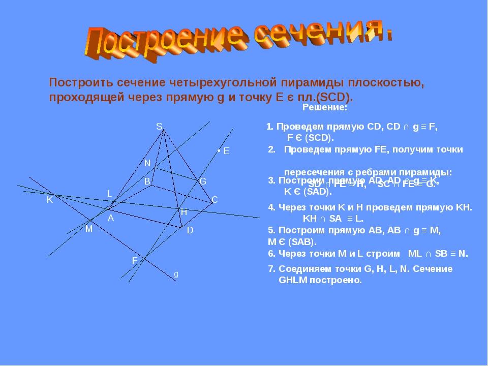 Построить сечение четырехугольной пирамиды плоскостью, проходящей через пряму...