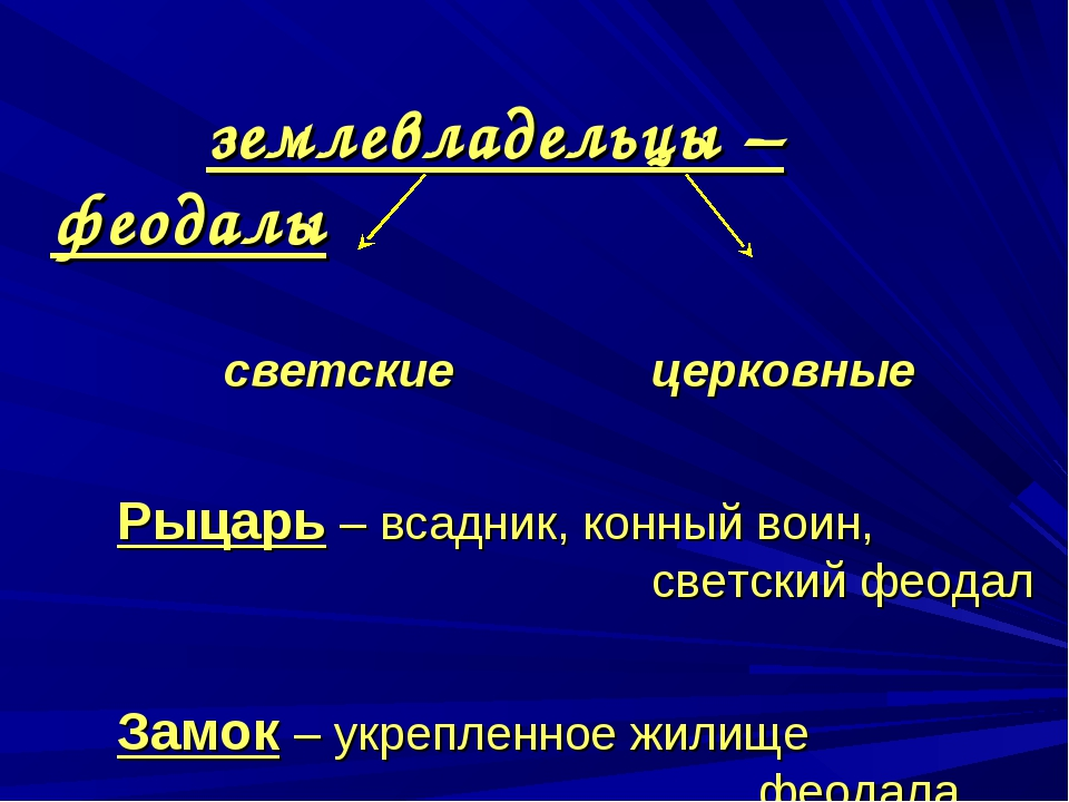 землевладельцы – феодалы  светскиецерковные Рыцарь – всадник,...