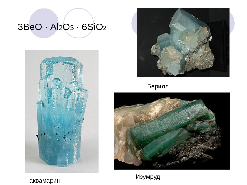 3ВеО · Al2О3 · 6SiO2 Изумруд аквамарин Берилл