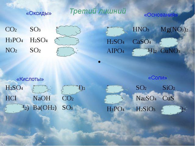 Третий лишний «Оксиды» «Основания» «Кислоты» «Соли» CO2 SO3 HNO3 H3PO4 H2SO4...