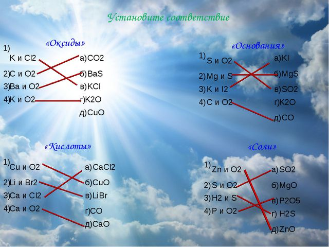 Установите соответствие «Оксиды» «Основания» «Кислоты» «Соли» 1) 2) 2) 2) 2)...