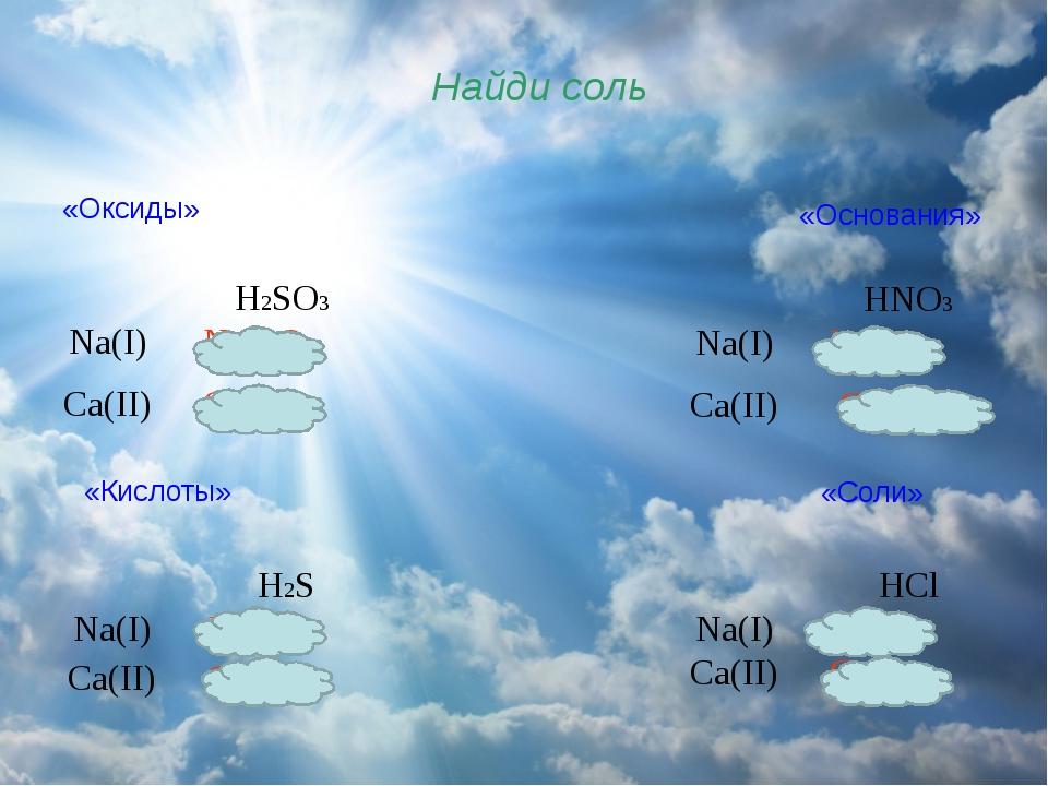 Найди соль «Оксиды» «Основания» «Кислоты» «Соли» H2SO3 Na(I) Na2SO3 Ca(II) C...