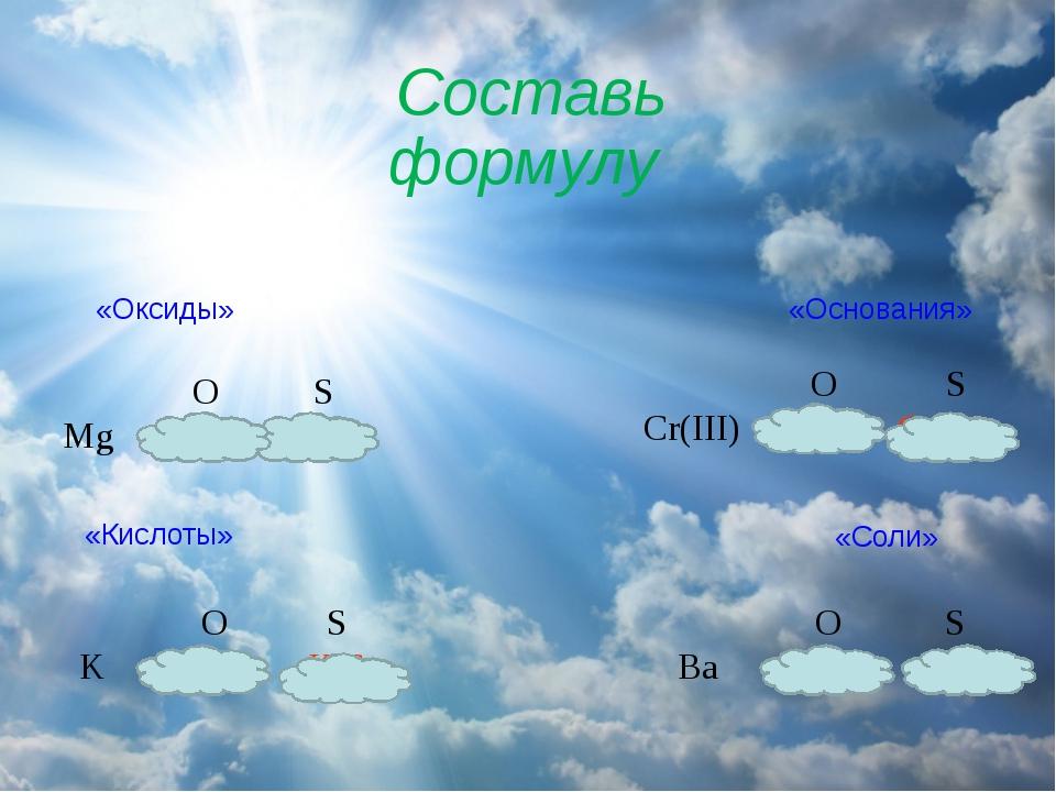 Составь формулу «Оксиды» «Основания» «Кислоты» «Соли» O S Mg MgO MgS O S Cr(...