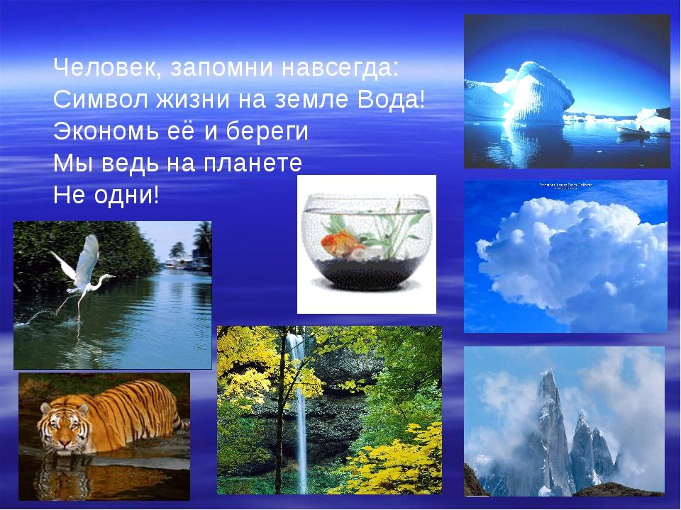 Человек, запомни навсегда: Символ жизни на земле Вода! Экономь её и береги Мы...