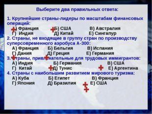 Выберите два правильных ответа: 1. Крупнейшие страны-лидеры по масштабам фина