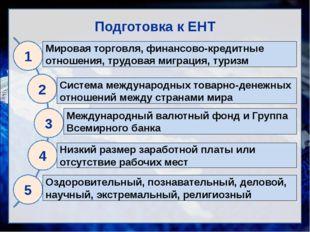 Подготовка к ЕНТ 1 Мировая торговля, финансово-кредитные отношения, трудовая