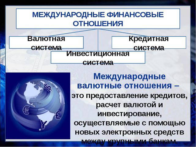 МЕЖДУНАРОДНЫЕ ФИНАНСОВЫЕ ОТНОШЕНИЯ Валютная система Инвестиционная система Кр...