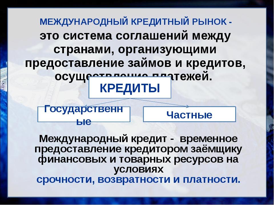 МЕЖДУНАРОДНЫЙ КРЕДИТНЫЙ РЫНОК - это система соглашений между странами, органи...