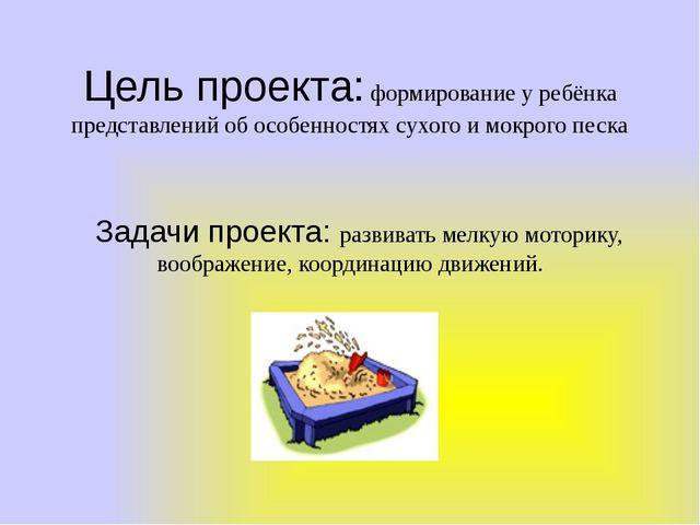 Цель проекта: формирование у ребёнка представлений об особенностях сухого и м...