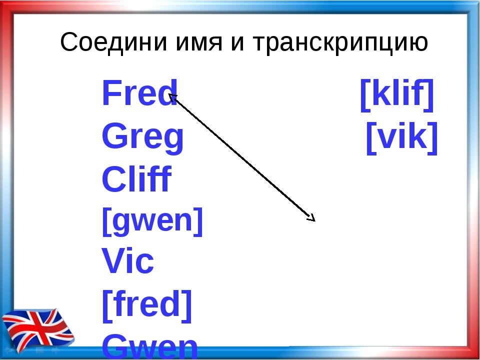 Соедини имя и транскрипцию Fred [klif] Greg [vik] Cliff [gwen] Vic [fred] Gwe...