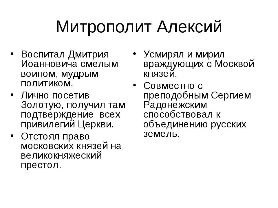 Митрополит Алексий Воспитал Дмитрия Иоанновича смелым воином, мудрым политико...