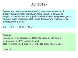 A8 (2012) Производится одноканальная (моно) звукозапись с частотой дискретиза