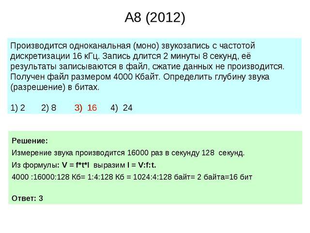 A8 (2012) Производится одноканальная (моно) звукозапись с частотой дискретиза...