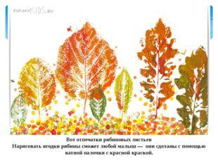Вот отпечатки рябиновых листьев Нарисовать ягодки рябины сможет любой малыш —