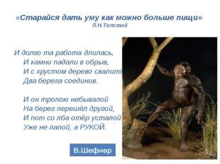«Старайся дать уму как можно больше пищи» Л.Н.Толстой … И долго та работа дли