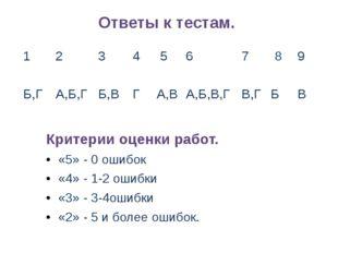 Ответы к тестам. Критерии оценки работ. «5» - 0 ошибок «4» - 1-2 ошибки «3» -