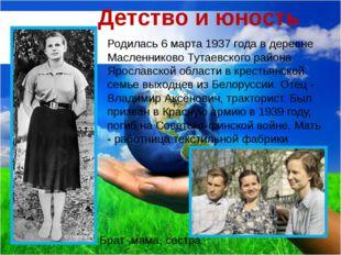 Детство и юность Родилась 6 марта 1937 года в деревне Масленниково Тутаевског