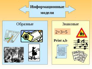 Образные Знаковые При построении некоторых типов информационных моделей однов